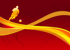 Dynamische gouden voetbalster Stock Afbeelding