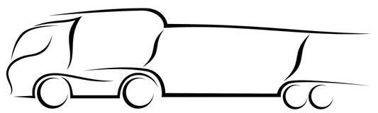 Dynamische Vektorillustration eines europäischen LKW-Autotransporters stockbilder