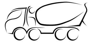 Dynamische Vektorillustration eines europäischen Transportmischers mit vier Achsen lizenzfreie stockfotos