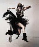 Dynamisches und aktives sinnliches weibliches Springen Stockfotos