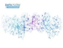 Dynamisches Wellentechnologiekonzept Abstrakter Datenflusshintergrund mit Buchstabecode Stockbild