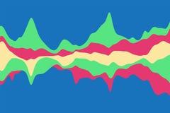 Dynamisk abstrakt bakgrund med färg vinkar på en blå bakgrund också vektor för coreldrawillustration Royaltyfria Bilder