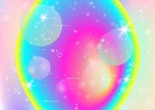Dynamisk bakgrund för vätska med vibrerande regnbågelutningar Dynamiskt hologram Holographic kosmos vektor illustrationer