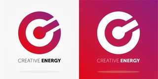 Dynamisk logo för idérik energi med lutning abstrakt f?rgrik logo f?r designdiagramillustration id?rik logo stock illustrationer