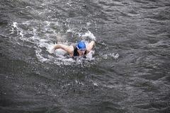 Dynamisk och färdig simmare som utför fjärilsslaglängden i mörkt havvatten Royaltyfri Foto