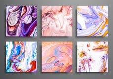 dynamiska bakgrunder moderiktiga plakat, reklamfilmräkningsuppsättning Färgrik effekt för marmor Abstrakt sidaaffischmall för kat royaltyfri illustrationer