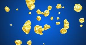 Dynamiska sväva guld- partiklar på den blåa bakgrundsvideoen 4k framförde animering