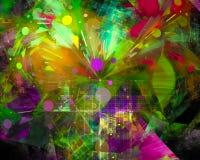 Dynamiskt overkligt för abstrakt för fractalflödeseffekt för disko för kurva overklig för flamma för färg effekt för fantasi vektor illustrationer