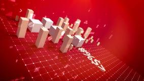 Dynamiskt stångdiagram i den scharlakansröda bakgrunden vektor illustrationer