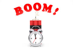 Dynamit with Alarm Clock and Boom Sign Royalty Free Stock Photos