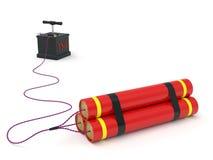 Dynamit mit zur Detonation bringender Sicherung Stockfoto