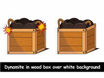 Dynamit w pudełku nad białą tło wektoru ilustracją Obrazy Stock