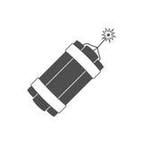 Dynamitbomben-Explosionsikone mit brennendem Docht bringen zur Detonation lizenzfreie abbildung