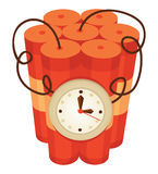 Dynamite. Clock set with a white beam of dynamite in the ground Stock Photography