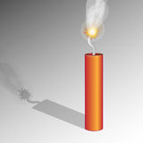 Dynamite. Red dynamite stick with fuse over gray background Stock Photo