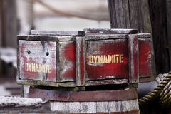 Dynamite. Old box of dynamite on barrel Royalty Free Stock Photography