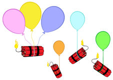 Dynamite on balloons. Clipart with classical dynamite with the set on fire wick Royalty Free Stock Image