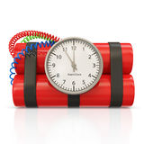 Dynamite Bomb with Clock Timer Royalty Free Stock Images