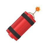 Dynamite bomb explosion with burning wick detonate. Aggression terrorism. Dynamite bomb explosion with burning wick detonate isolated on white background Royalty Free Stock Photos