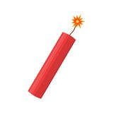 Dynamite bomb explosion with burning wick detonate. Aggression terrorism. Stock Image