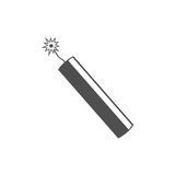 Dynamite bomb explosion icon with burning wick detonate. Royalty Free Stock Image