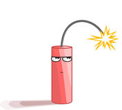 Dynamite Boom Big Bang. Sarcastic dynamite with burning fuse cord - keeping calm Stock Images
