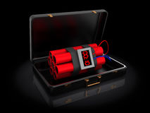 Dynamite in briefcase Royalty Free Stock Images