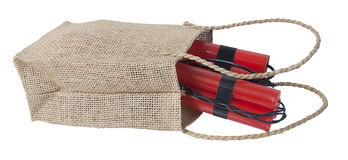 Dynamite in a Burlap Bag Royalty Free Stock Photo