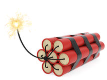 Dynamite with burning wick on white Stock Images