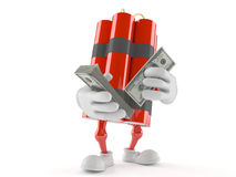Dynamite character with money Royalty Free Stock Image