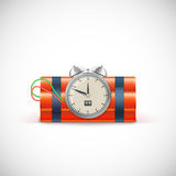 Dynamite with clock. Royalty Free Stock Photos