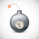 Dynamite with clock. Royalty Free Stock Images