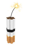 Dynamite composed of cigarettes with burning wick Royalty Free Stock Photo