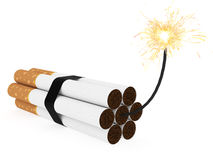 Dynamite composed of cigarettes with burning wick on white Royalty Free Stock Photography