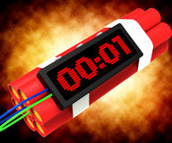 Dynamite Deadline Time Showing Urgency Or Terrorism. Dynamite Deadline Time Shows Urgency Or Explosion Royalty Free Stock Image