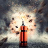 Dynamite exploding. Dangerous dynamite exploding against abstract background Royalty Free Stock Images