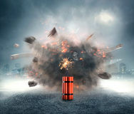 Dynamite exploding. Dangerous dynamite exploding in the urban area Royalty Free Stock Photography