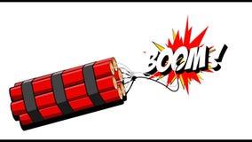 Dynamite explosion boom 2D cartoon animation on a background. MOV