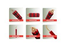 Dynamite icons set Royalty Free Stock Photos