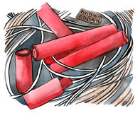 Dynamite. Painting of several explosive devices Stock Photos