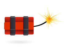 Dynamite ready to explode. Dynamite candles lighted up and exploding soon Royalty Free Stock Photography