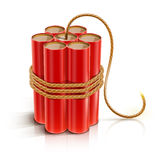 Dynamite stick with burning bickford fuse. Batch of dynamite sticks with burning bickford fuse vector illustration on white background EPS10. Transparent objects Royalty Free Stock Photos