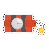 Dynamite sticks mining tnt clock fire cut line Royalty Free Stock Photography