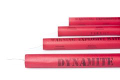Dynamite sticks on a white background Stock Photography