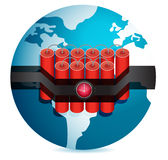 Dynamite stuck around globe illustration design Royalty Free Stock Images