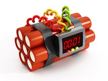 Dynamites z elektronicznym zegarem Zdjęcie Royalty Free