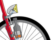 Dynamo on a bicycle. Ecological source of energy for light. Vector illustration Stock Photo