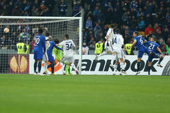 Dynamo Kyiv defending after corner kick, UEFA Europa League Round of 16 second leg match between Dynamo and Everton. KYIV, UKRAINE - MARCH 19, 2015: Dynamo Kyiv Royalty Free Stock Photos