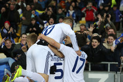 Dynamo Kyiv fans celebrating scored goal with players, UEFA Europa League Round of 16 second leg match between Dynamo and Everton Photo stock