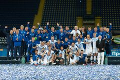Dynamo Kyiv celebrating win in Ukraine Cup
